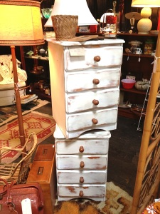 Pair of shabby chic bedside tables.
